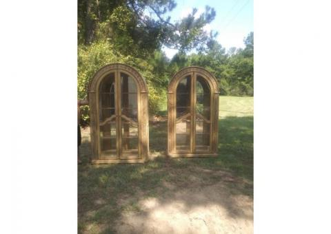2 Solid wood lighted curio cabinets
