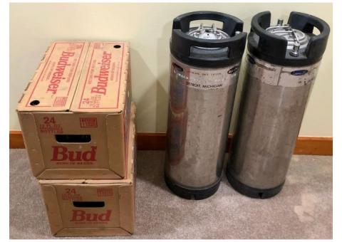 """Home Brewer Special - 2 Pin-lock soda kegs and 2 cases """"returnables"""" 12oz bottles."""