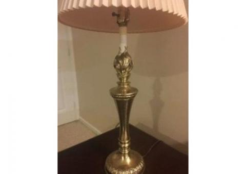 Vintage STIFFEL Brass Trophy Urn Torch Flame Table Lamp with Vintage Accordion Linen Shade