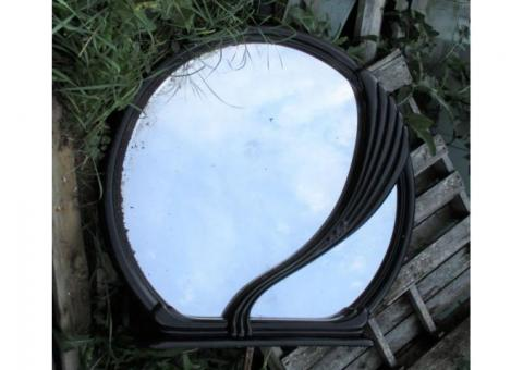 A Beautiful Large Mirror with Black Enameled Frame